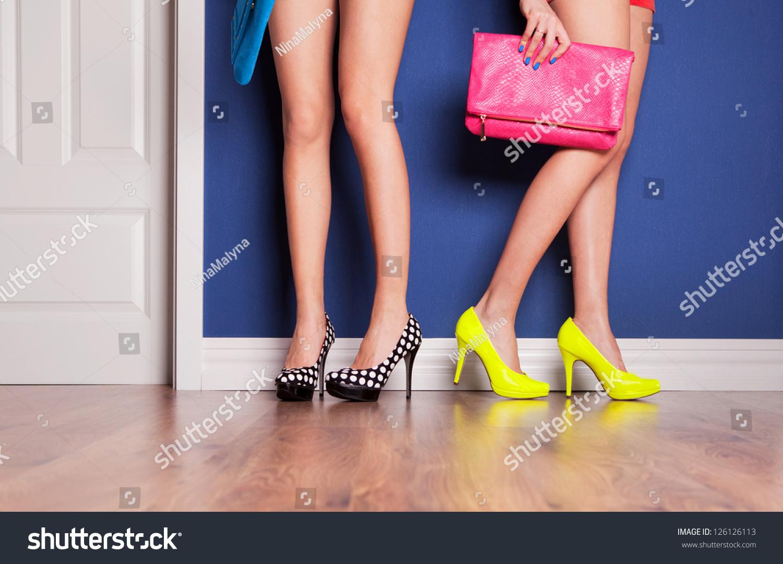 Two Girls Wearing High Heels Waiting Stock Photo 126126113 ...