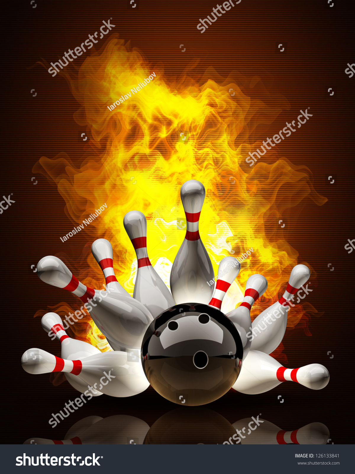 Abstract Bowling Ball Crashing Into The Pins On Fire High