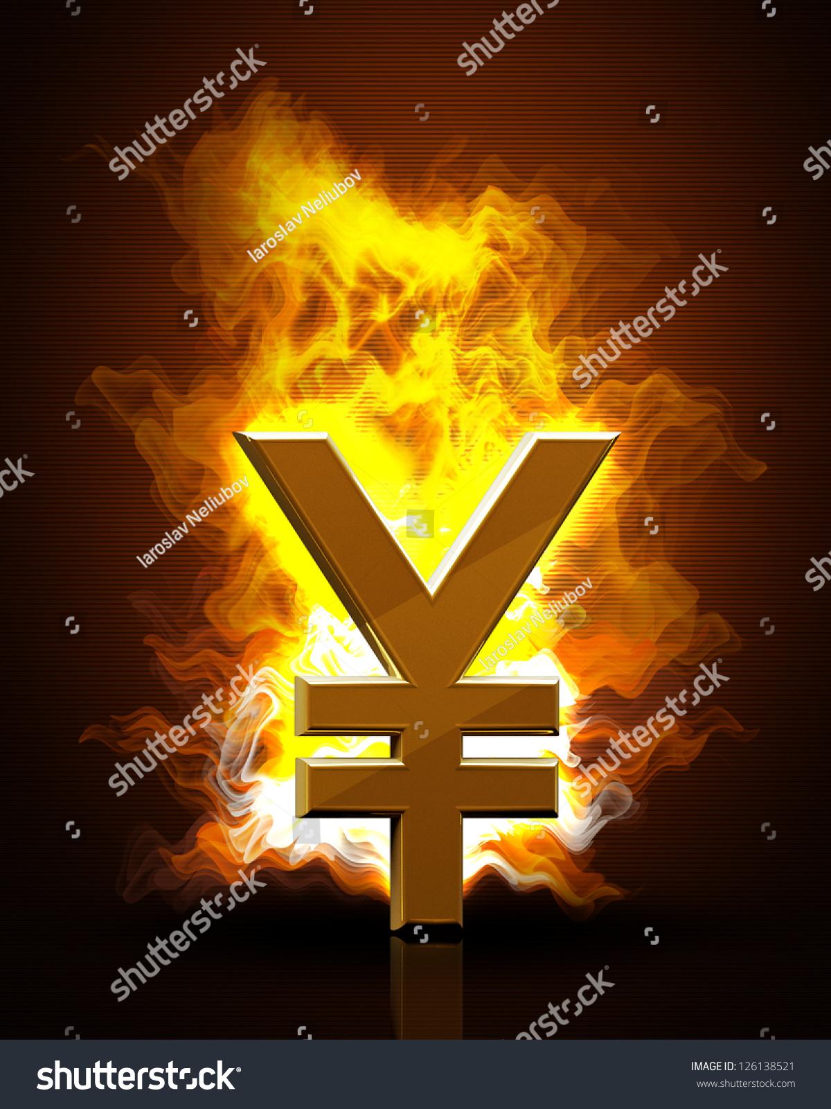 Japanese Yen Symbol Fire Black Background Stock Illustration