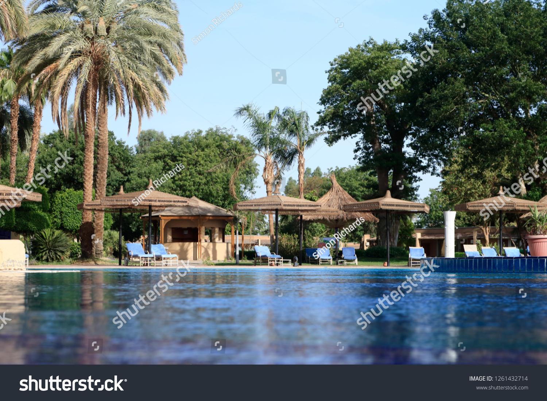 View Across Swimming Pool Sunbeds Sun Stock Photo (Edit Now ...
