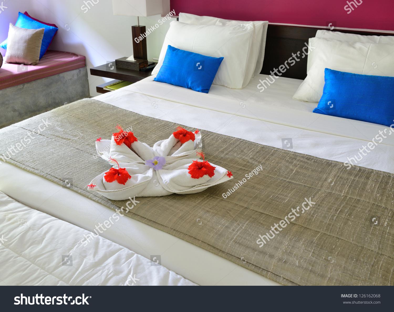 room hotel decoration towel flowers on stock photo 126162068