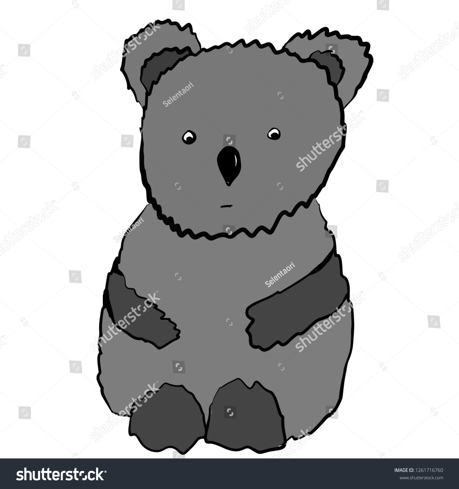 Gray sad emotional koala cartoon sketch drawing by hand illustration