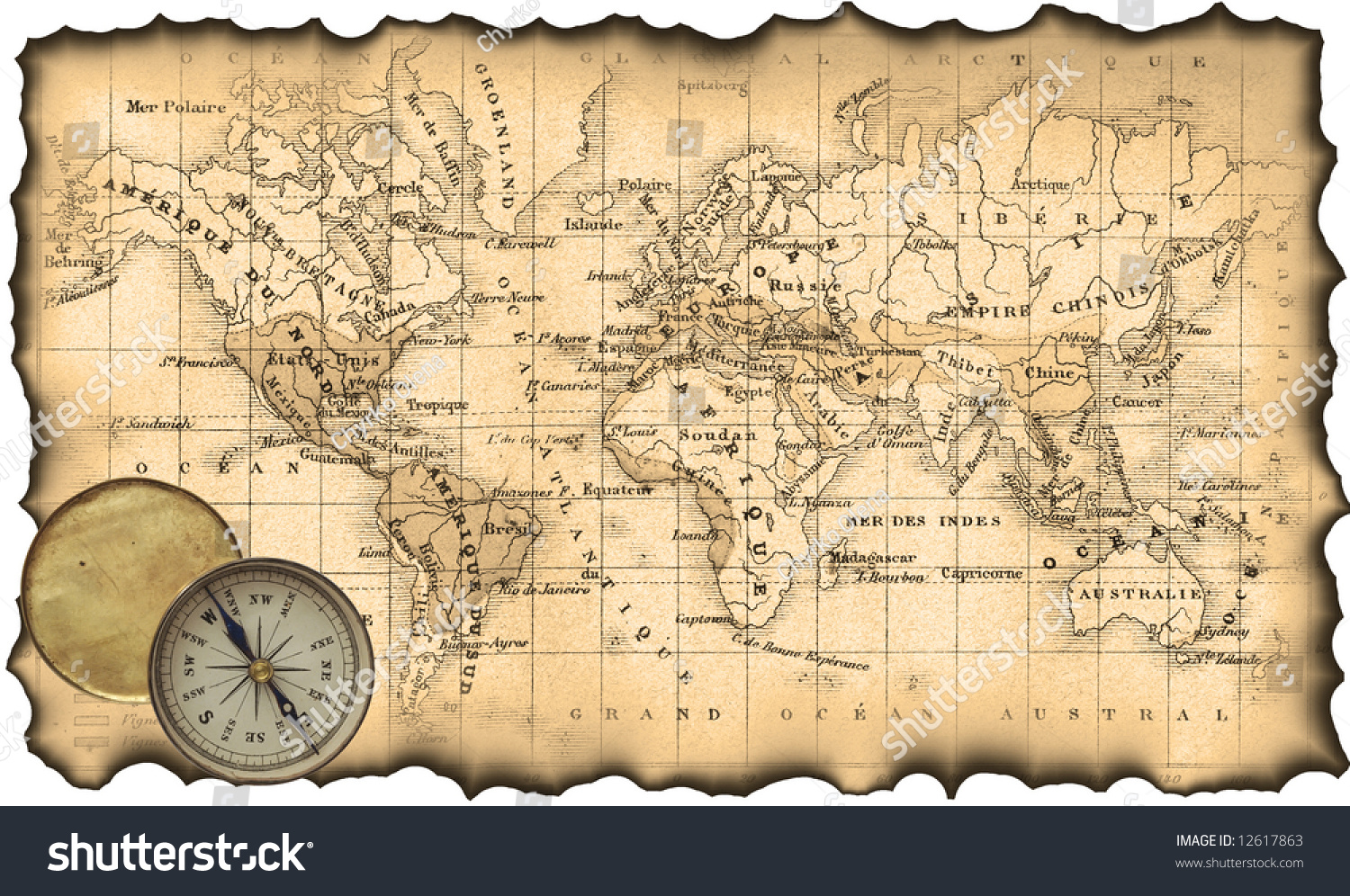 Ancient Map World Torn Scorched Edges Stock Illustration - Us map with compass