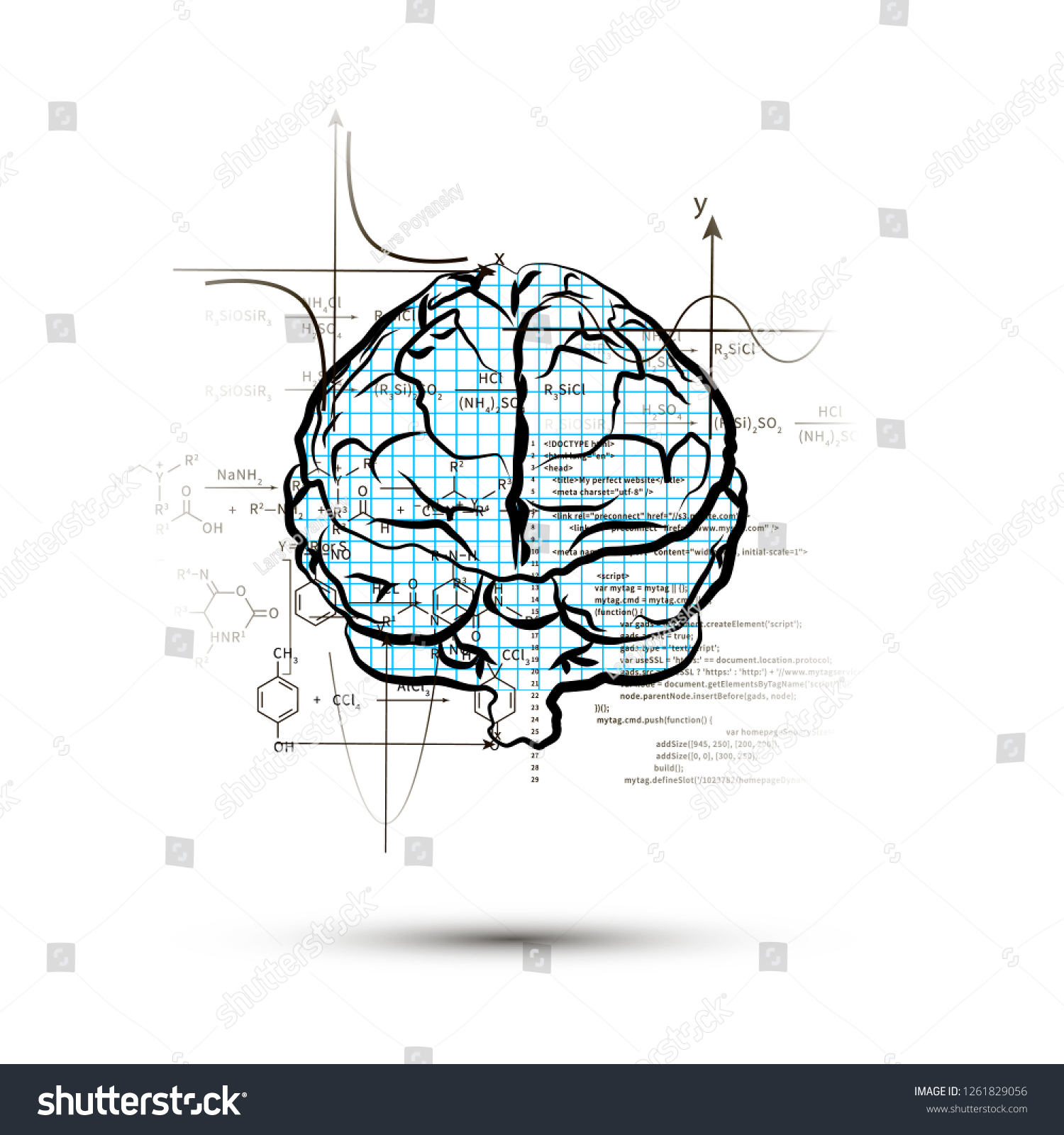 Technical Hemisphere Human Brain Front View Stock Vector