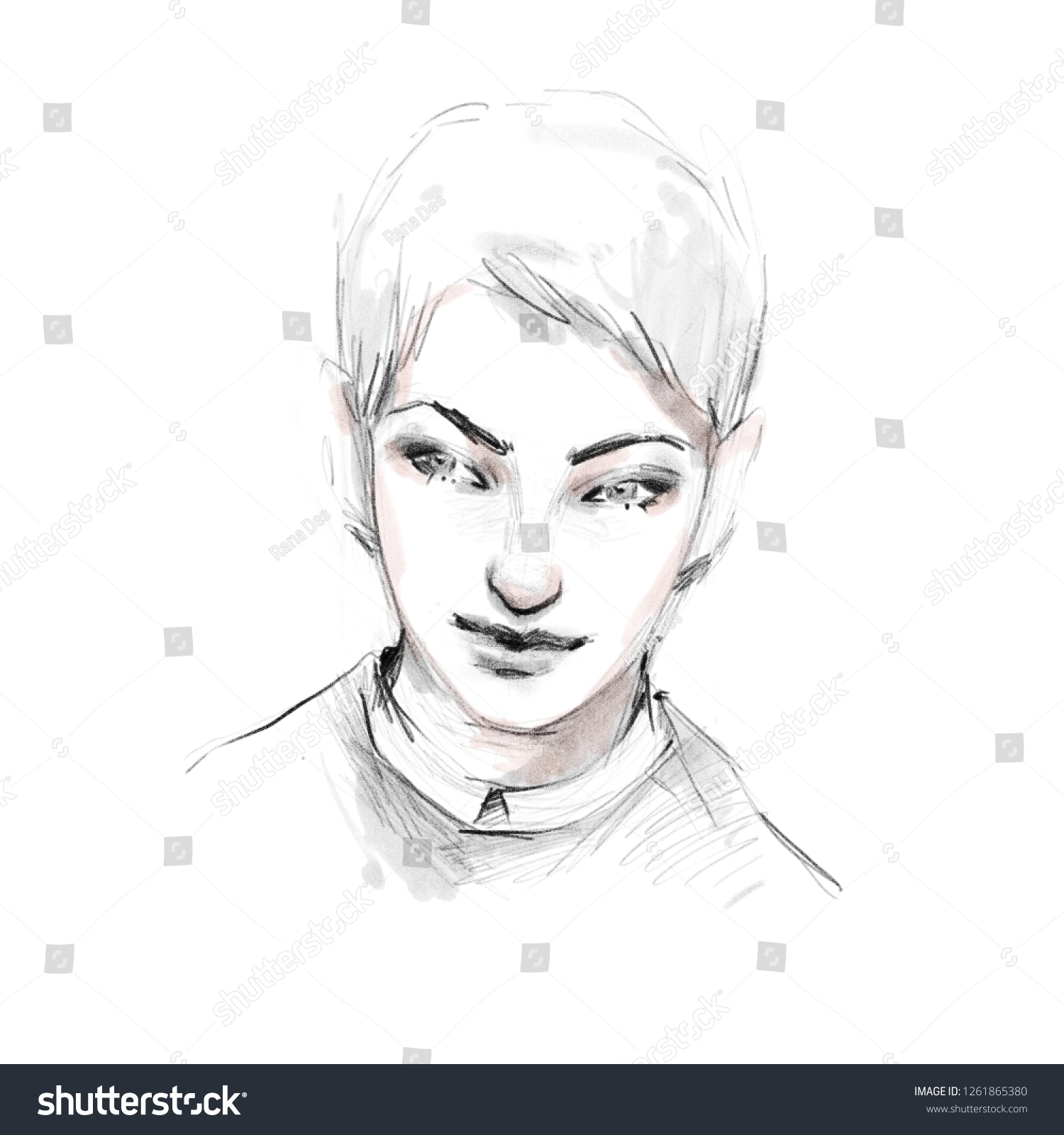 Handsome guy face black and white pencil sketch fashion illustration hand drawn attractive young man
