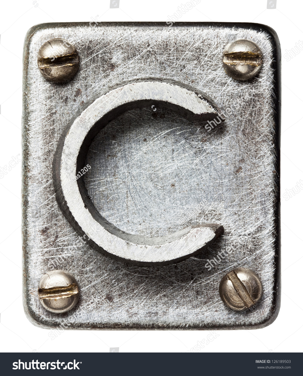 Old Metal Alphabet Letter C Stock Photo 126189503