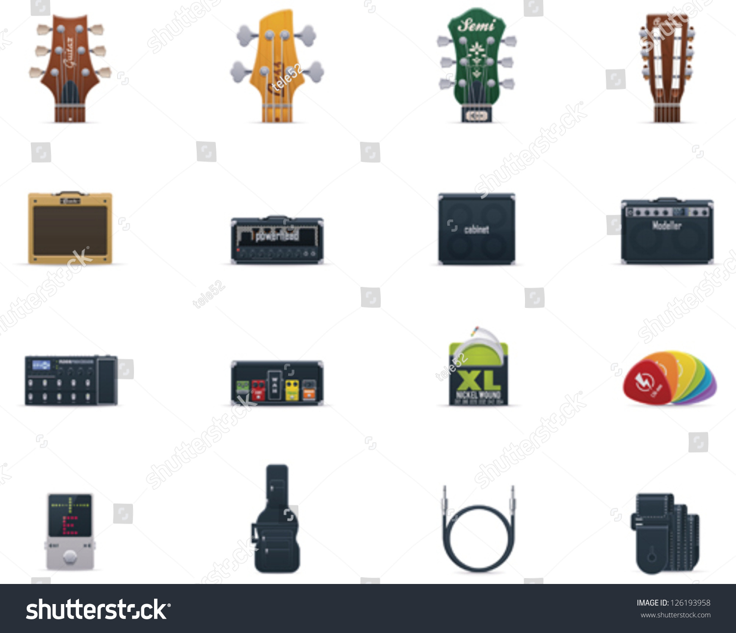 Vector Guitar Icons Set Part 1 Includes And Base Neck Headstocks Amplifiers