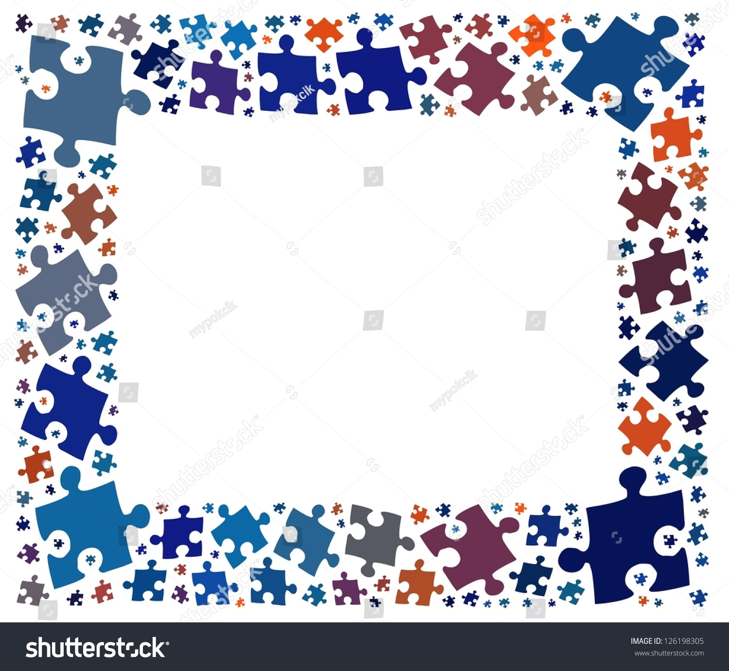 jigsaw puzzle frame copy space for text stock photo 126198305 shutterstock. Black Bedroom Furniture Sets. Home Design Ideas