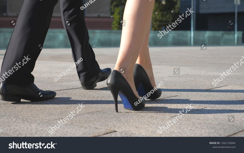Feet Business Man Woman High Heels