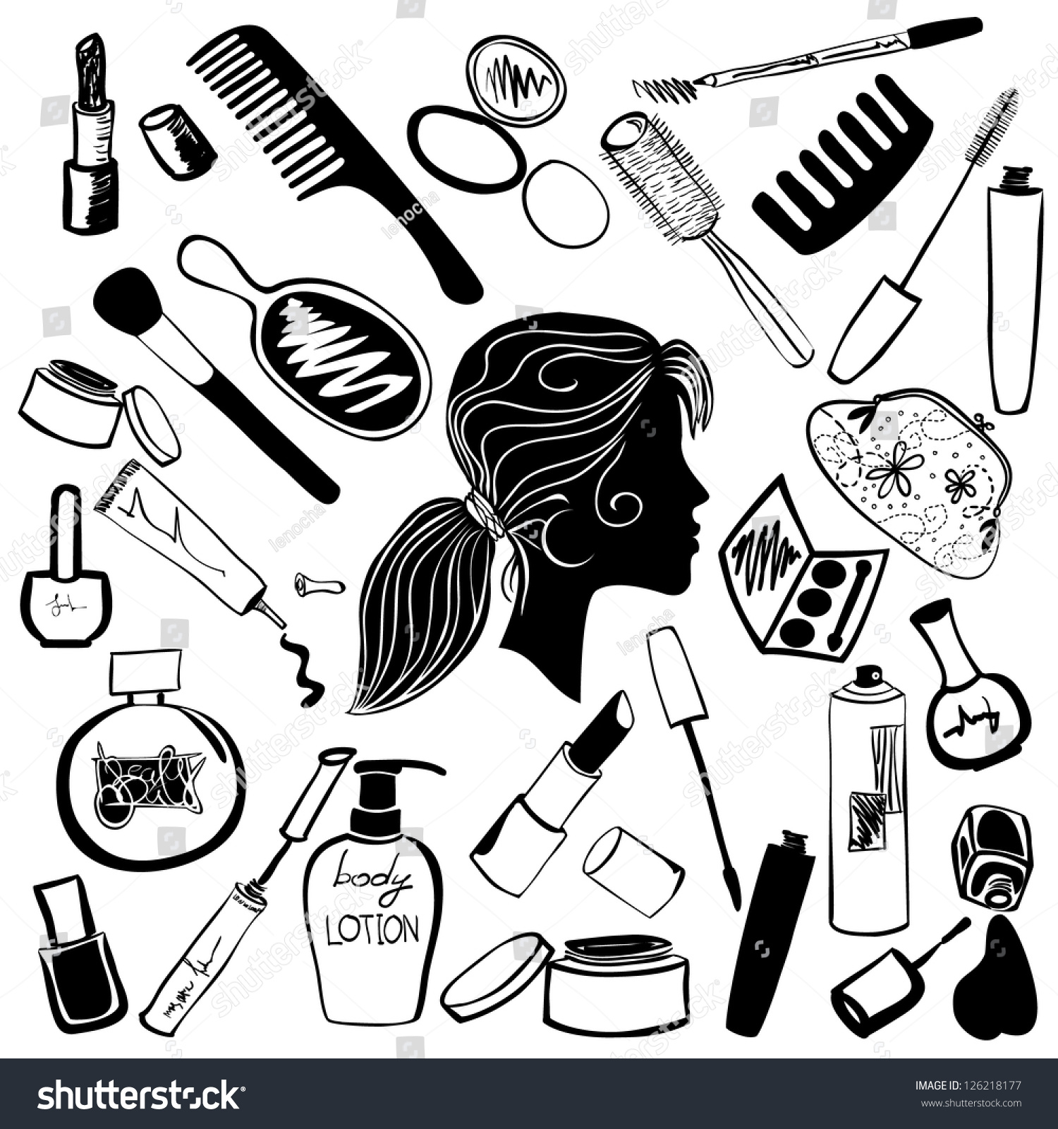Cosmetics And Beauty Products Icon Set