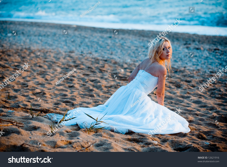Trash Wedding Dress Series Bride Sitting Stock Photo (100% Legal ...