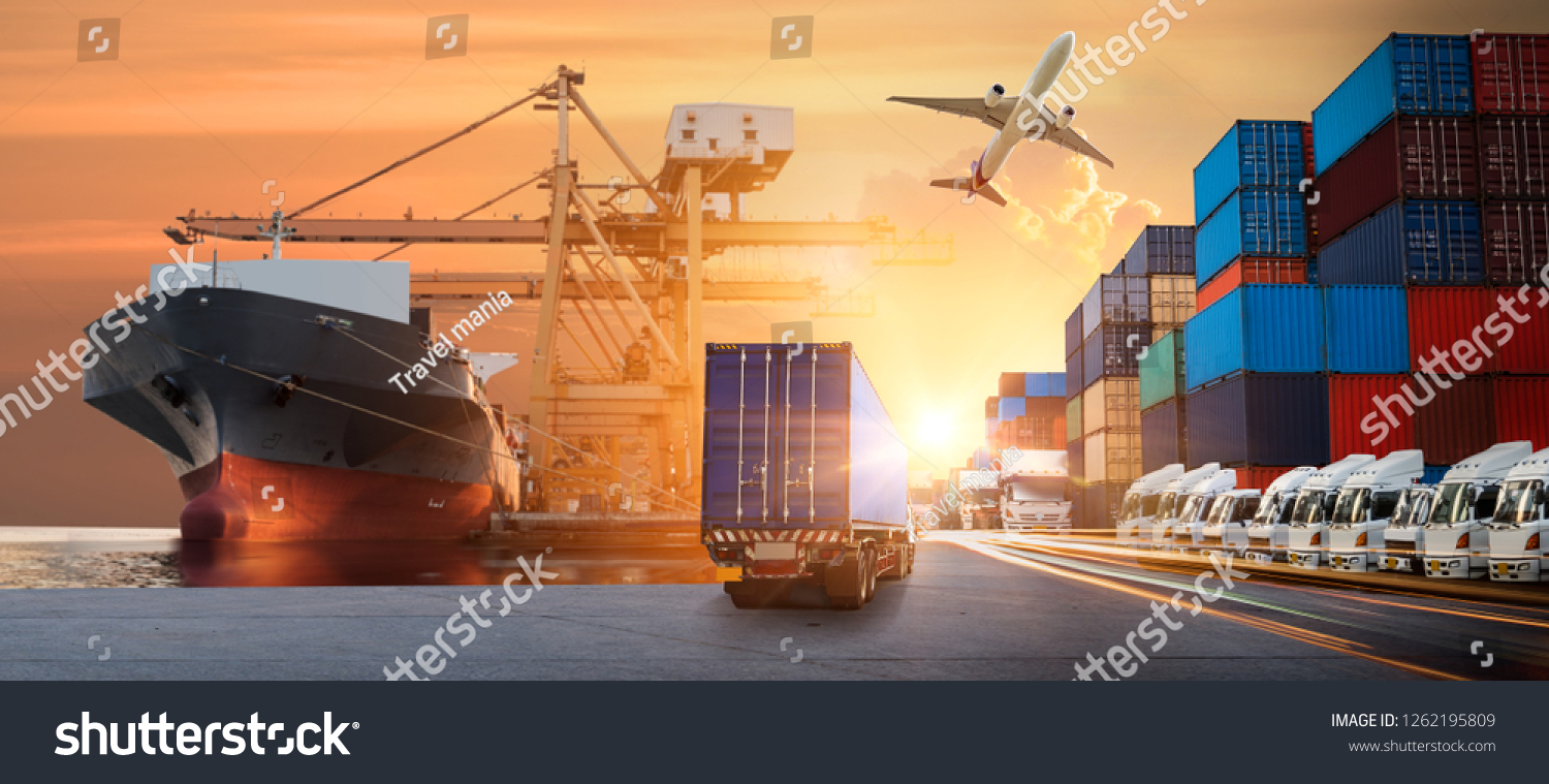 Logistics import export background and transport industry of Container Cargo freight ship and Cargo plane background, Truck transport container on the road to the port #1262195809