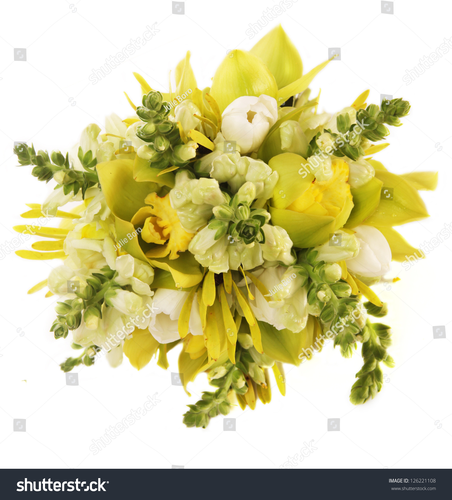 Green Orchid Flowers Bouquet Stock Photo (Edit Now) 126221108 ...