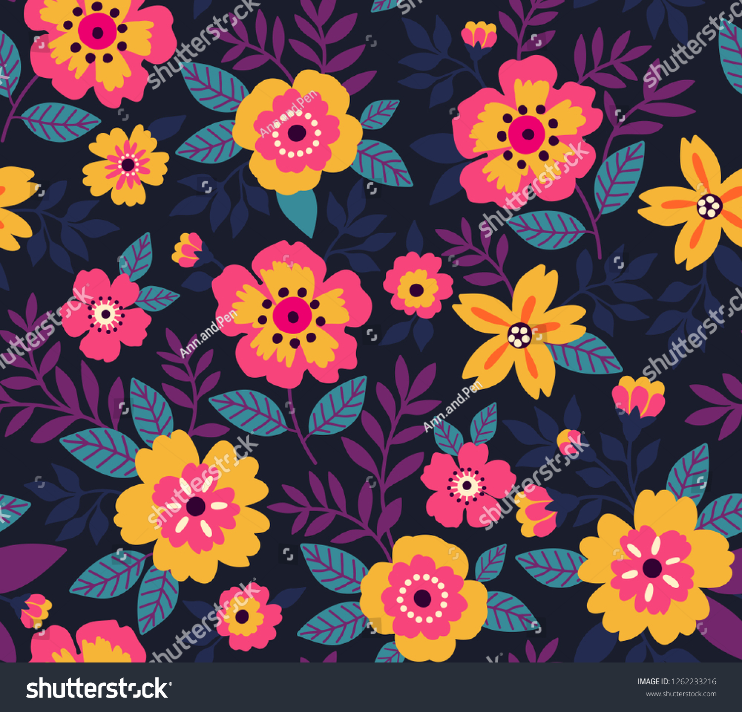 Floral Pattern Vintage Style Small Pinkyellow Stock Vector