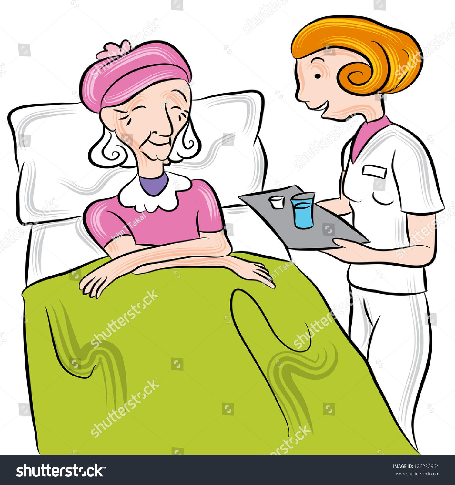 Stock illustrations senior citizen lady with a sign stock clipart - Image Nurse Giving Medication Senior Nursing Stock
