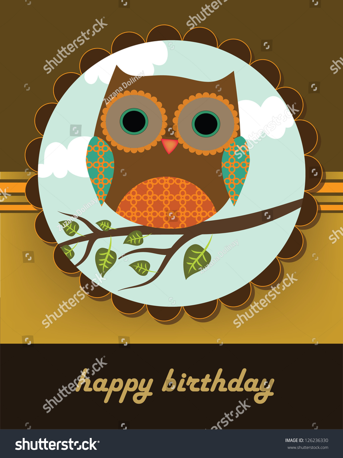 happy birthday card owl tree stock vector   shutterstock, Birthday card