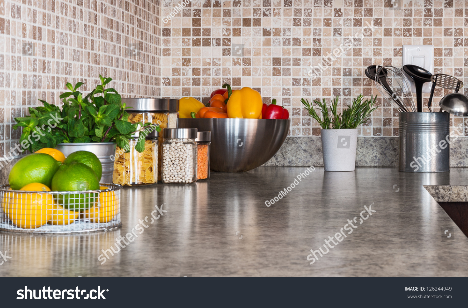 Modern Kitchen Countertop Modern Kitchen Countertop Food Ingredients Green Stock Photo