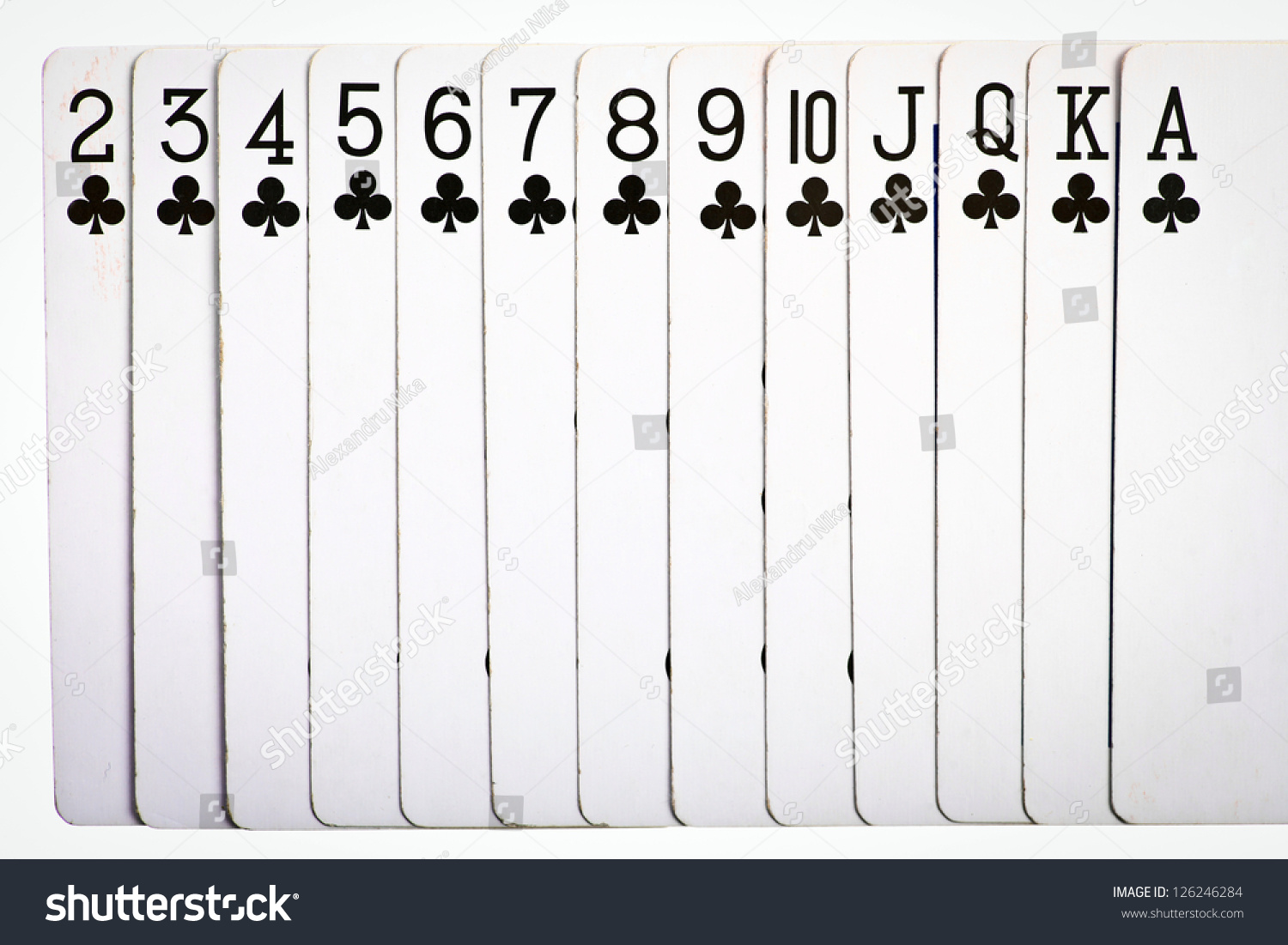 Playing cards ascending order clubs stock photo 126246284 shutterstock playing cards in ascending order clubs biocorpaavc Choice Image