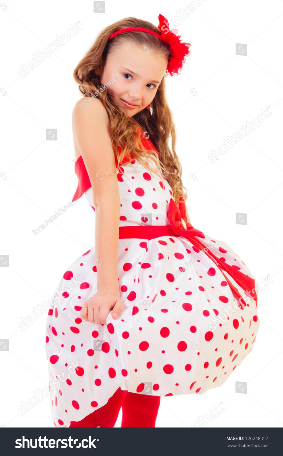 Pretty Little Blonde Girl Polka Dot Stock Photo (Edit Now