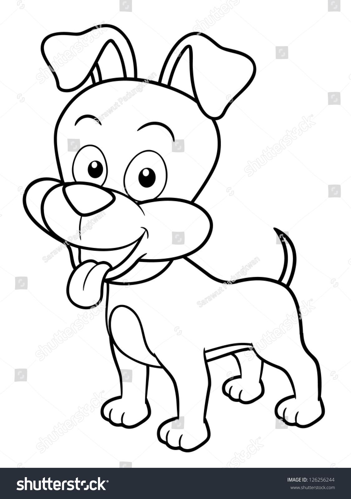 illustration of cartoon dog coloring book