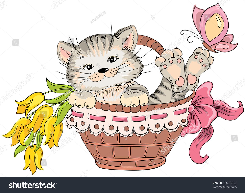 Cat Basket Clipart : Kitty bouquet flowers basket vector hand stock