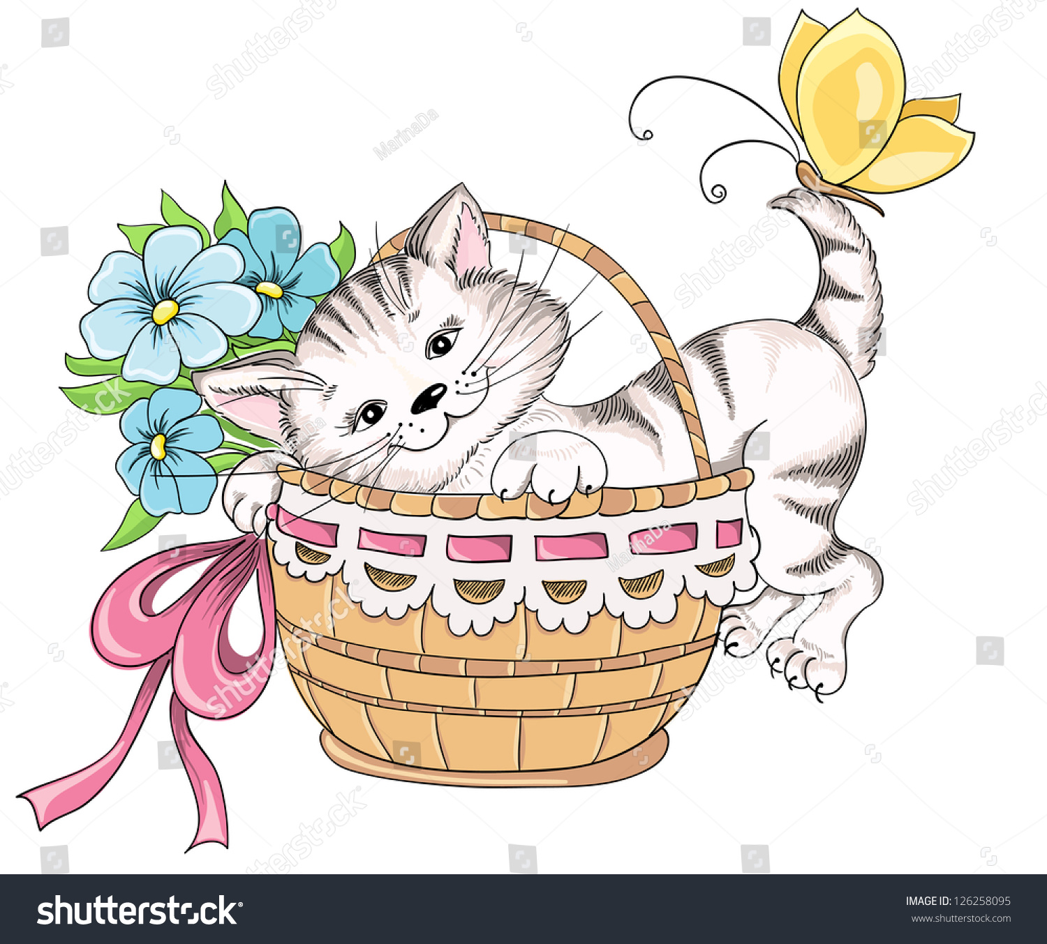 Kitty And Bouquet Of Flowers In Basket. Vector Hand ...