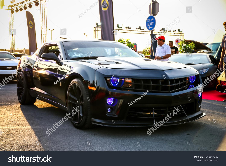 Dubai uae november 15 2018 american muscle car chevrolet camaro takes part