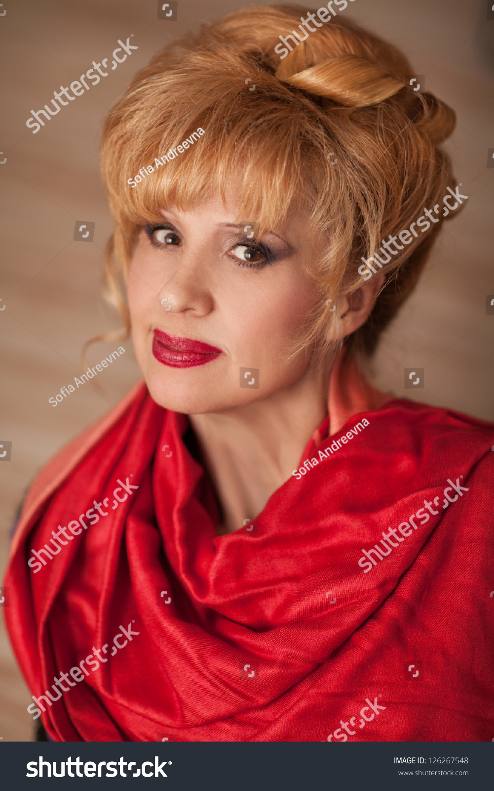 Elegant Middle Aged Woman Bright Makeup Stock Photo Edit Now