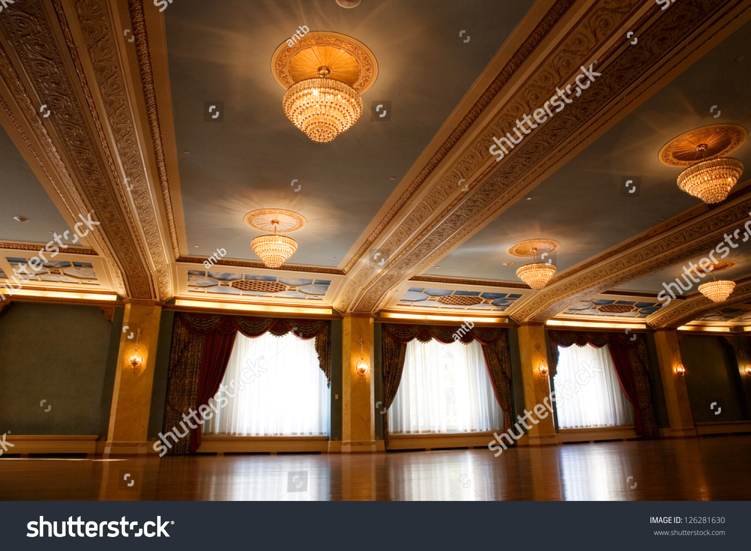 Grand Old Fashioned Ballroom With Glass Chandeliers