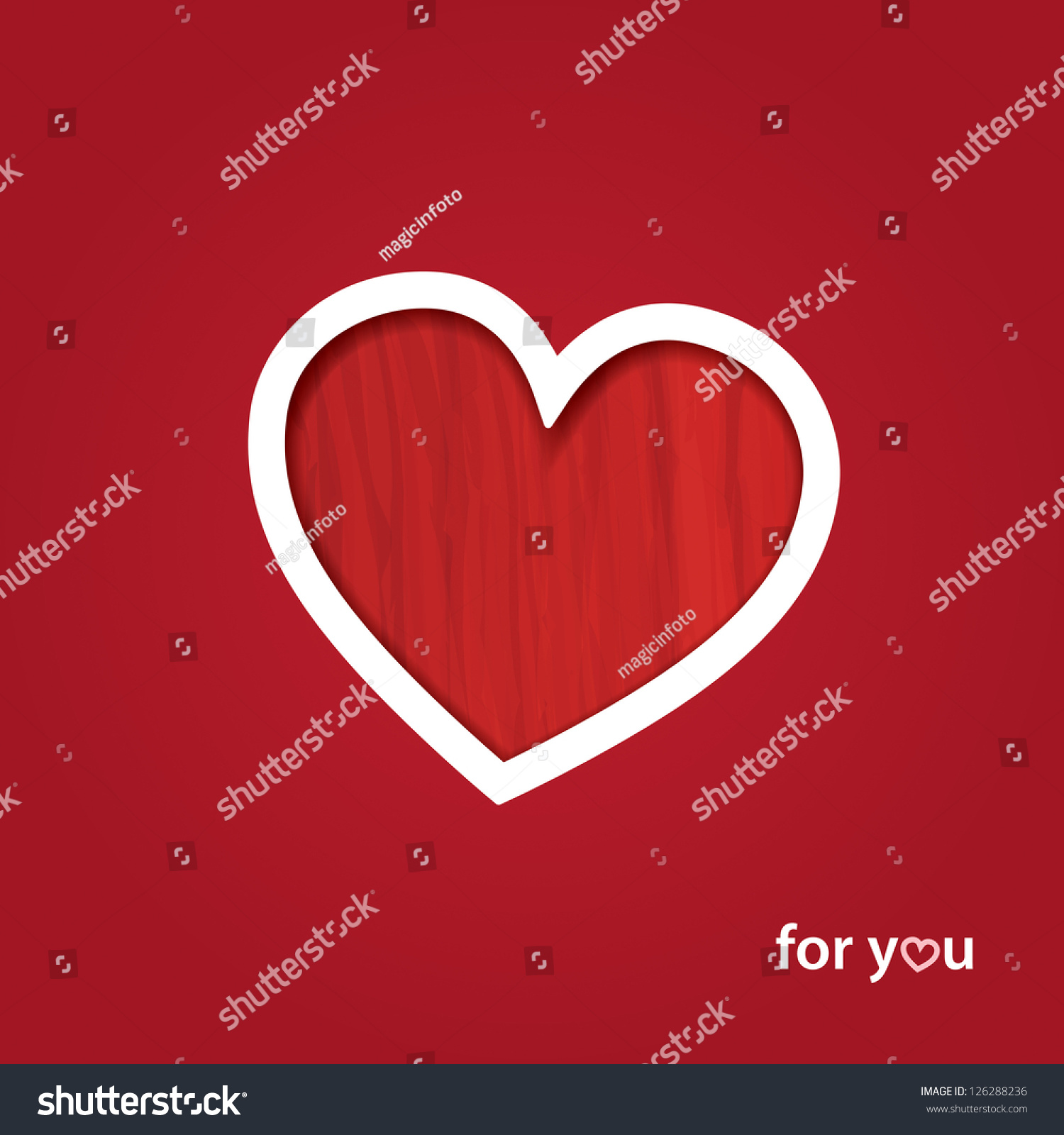 Valentines Day Red Greeting Card Easy Stock Vector 126288236