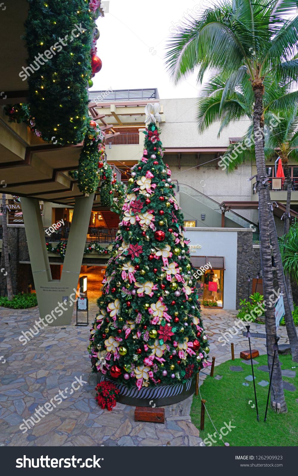 Christmas In Hawaii Decorations.Honolulu Hi 12 Dec 2018 View Stock Photo Edit Now