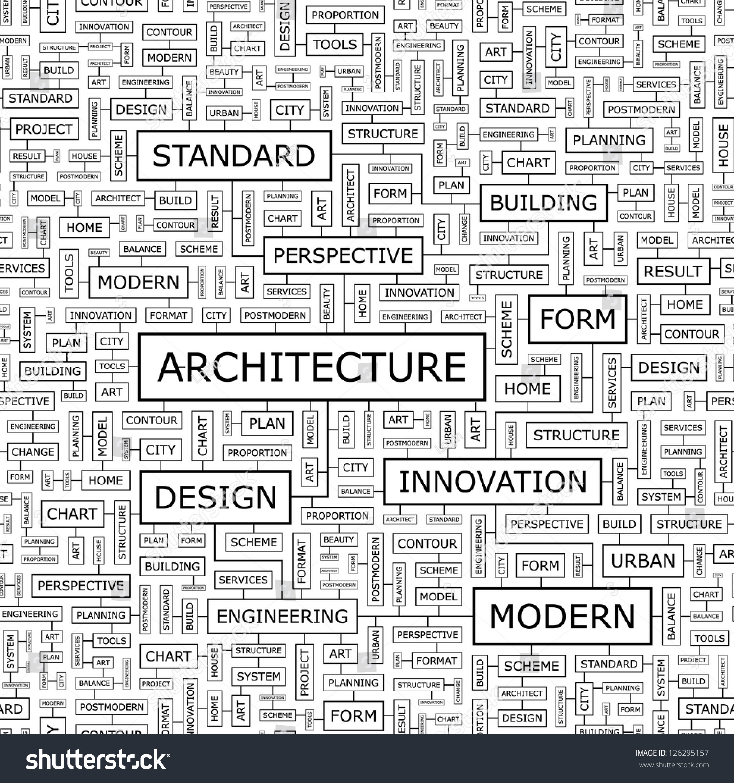 ARCHITECTURE Word Collage Seamless Illustration