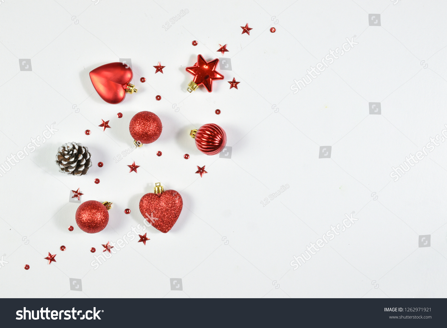 Christmas composition view. Flat lay of Christmas decoration with copy space on white background. Top view. #1262971921