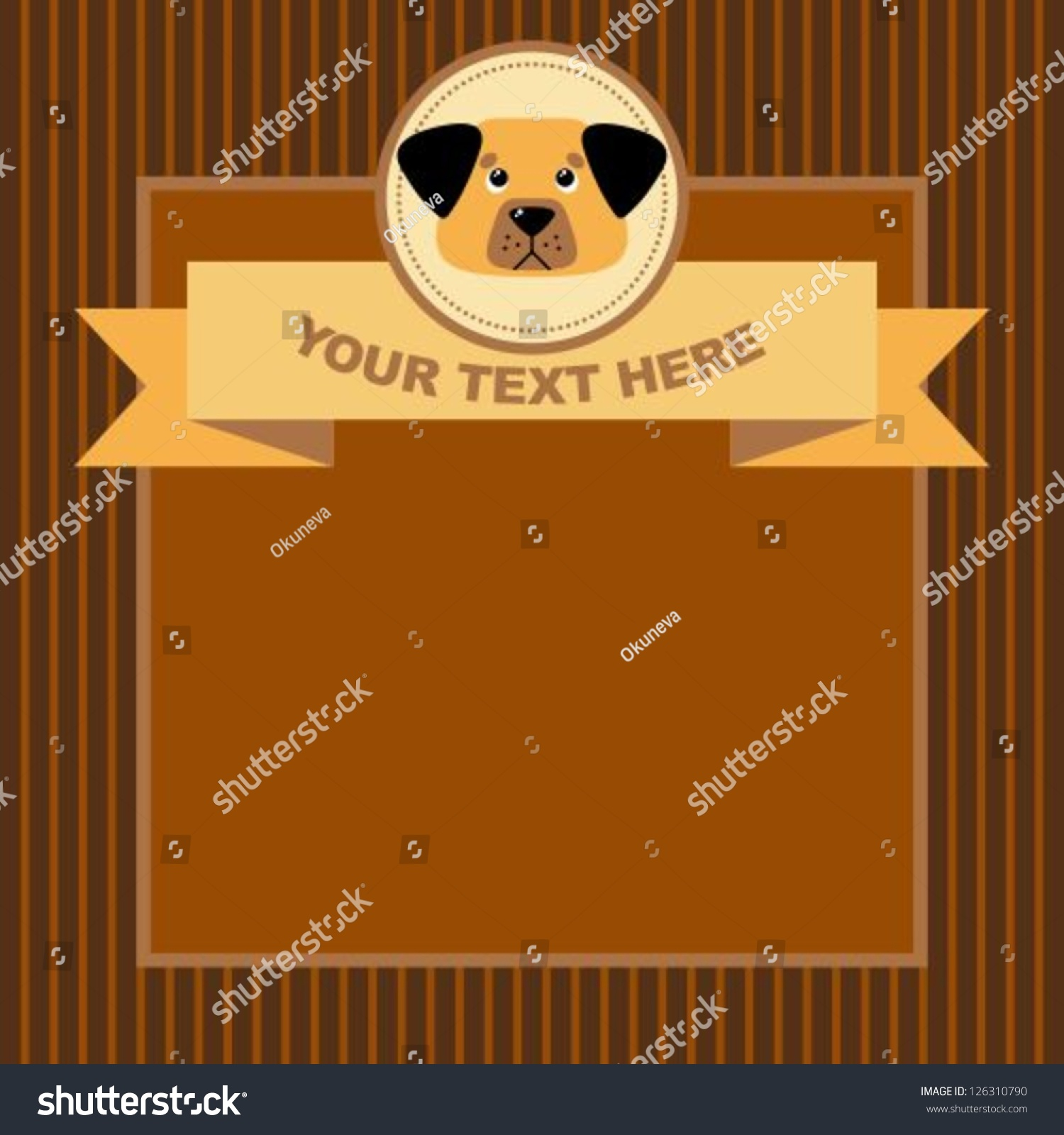 Animal Greeting Card Funny Cartoon Dog Stock Vector 126310790