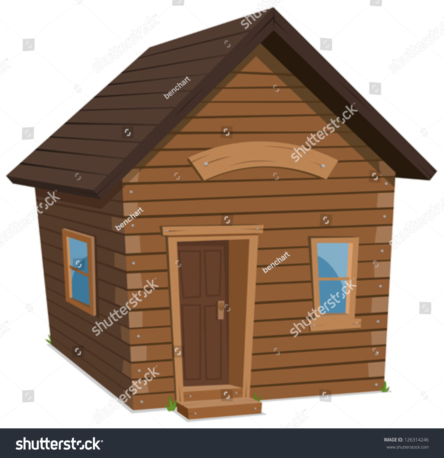 Wood house lifestyle illustration of a simple cartoon spring or winter wooden little forest lodge