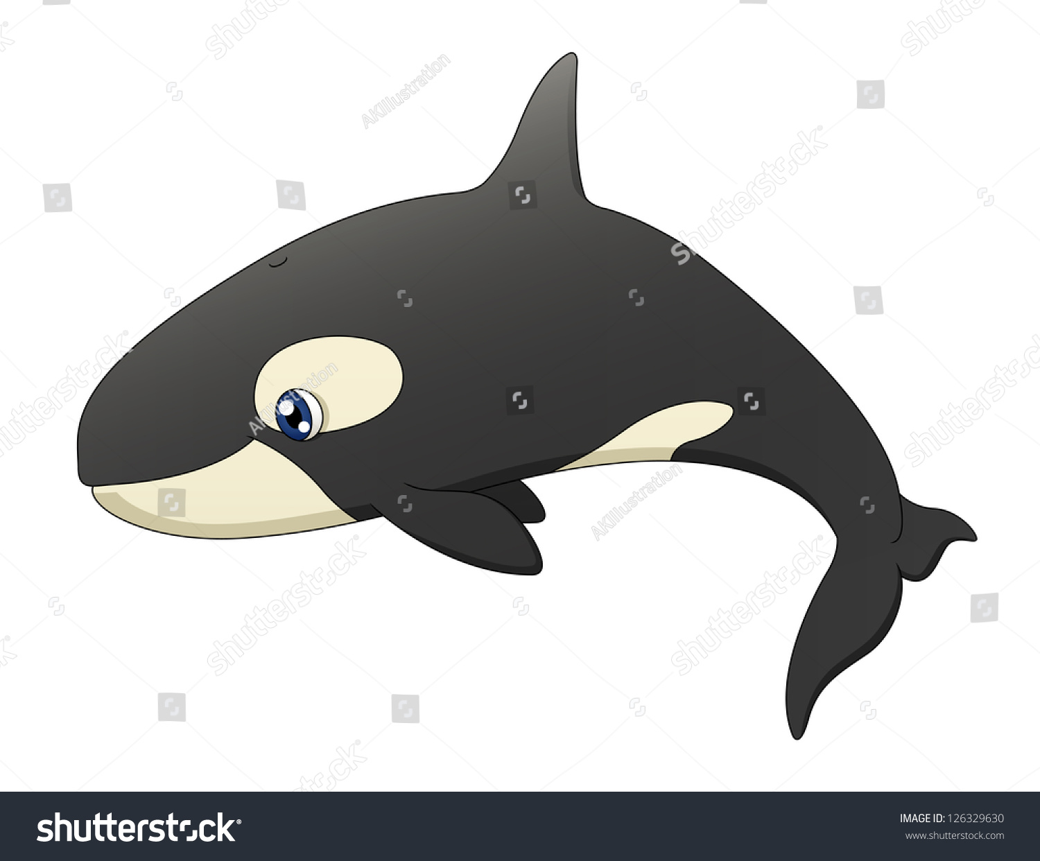 Cute whale in water cartoon isolated illustration stock photography - An Illustration Depicting A Cute Cartoon Killer Whale Swimming Raster