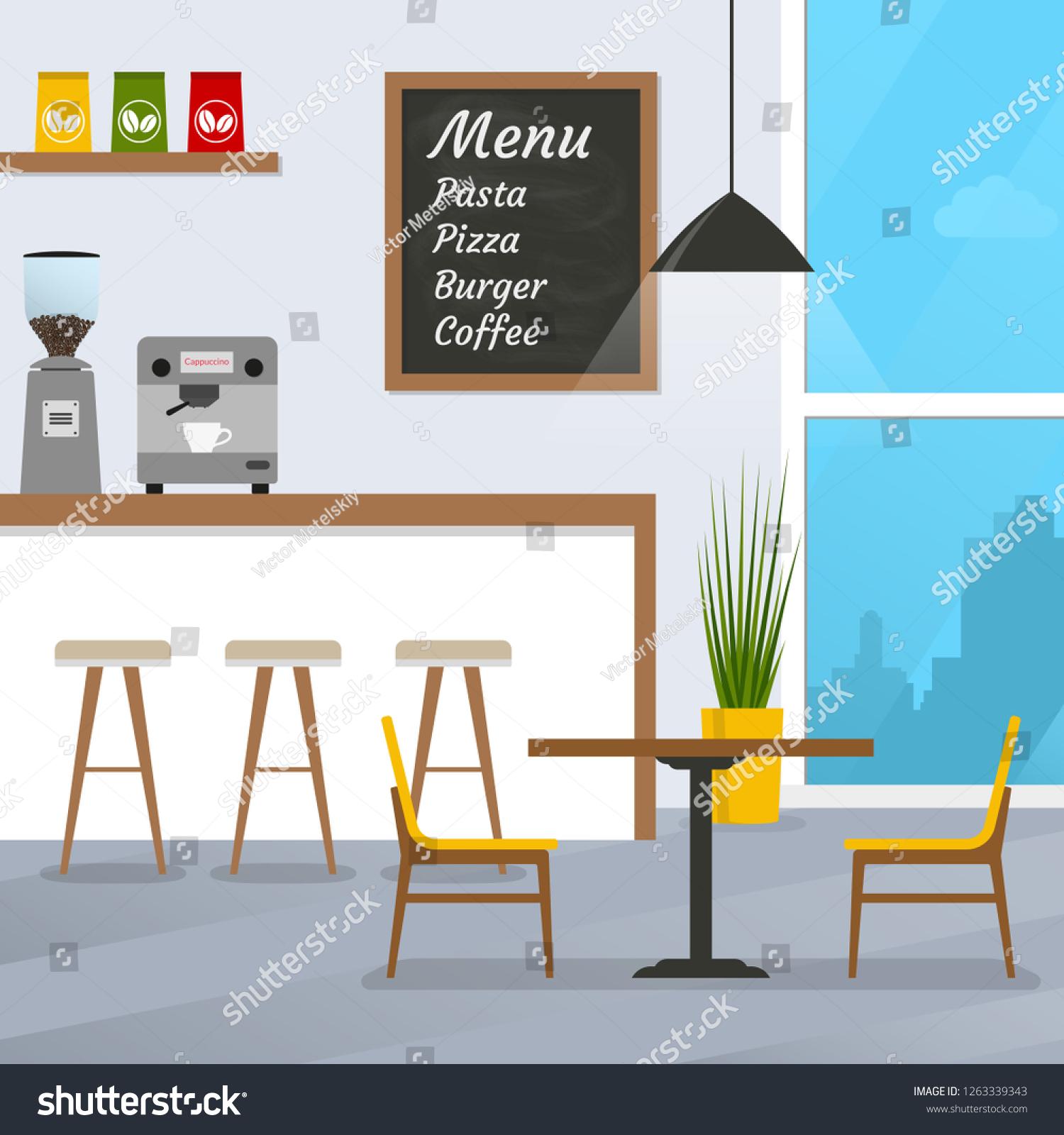 Cafe Restaurant Interior Design Coffee Shop Stock Illustration 1263339343