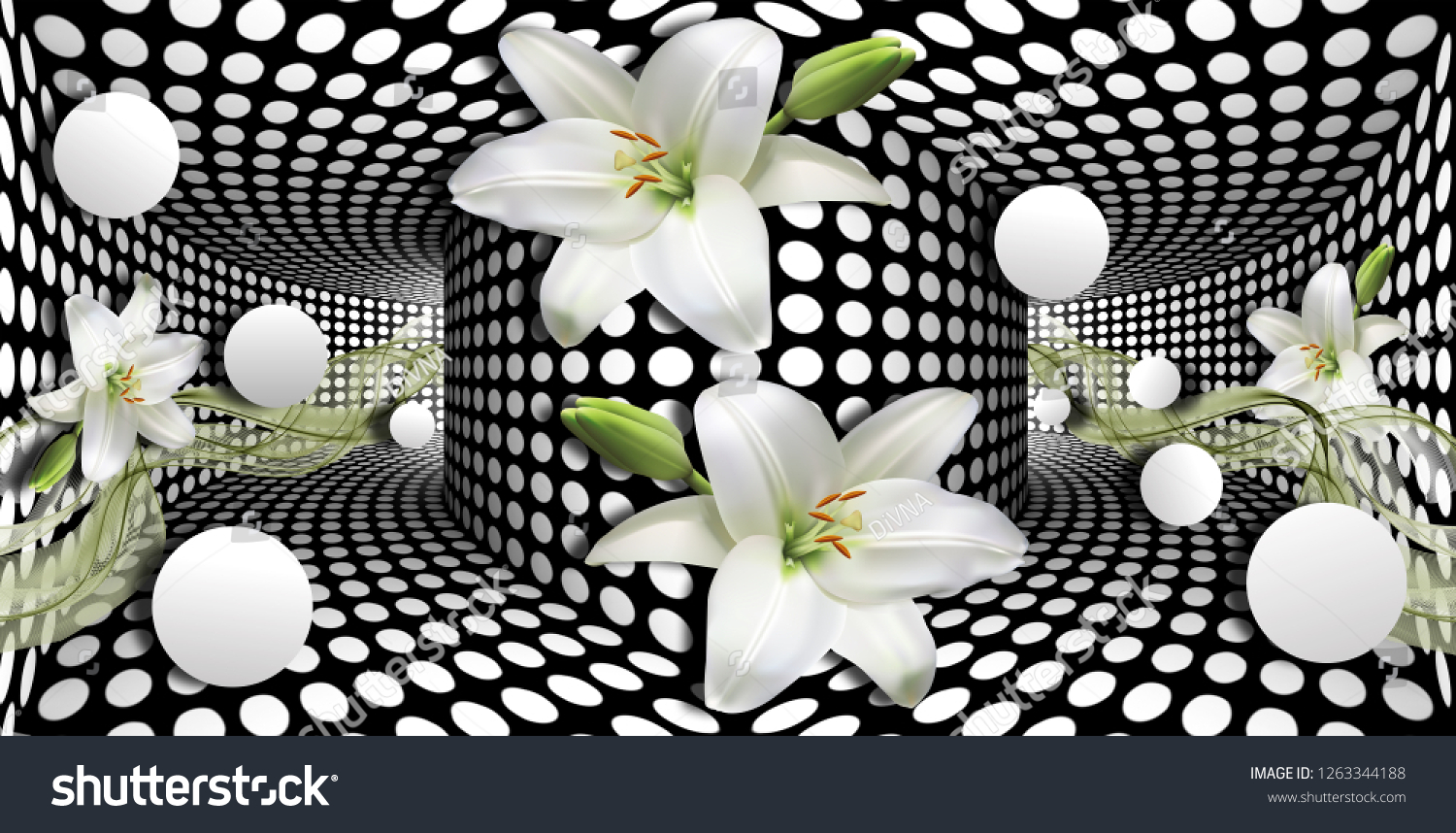 3d wallpaper, white calla lilies and sphere on optical illusions background