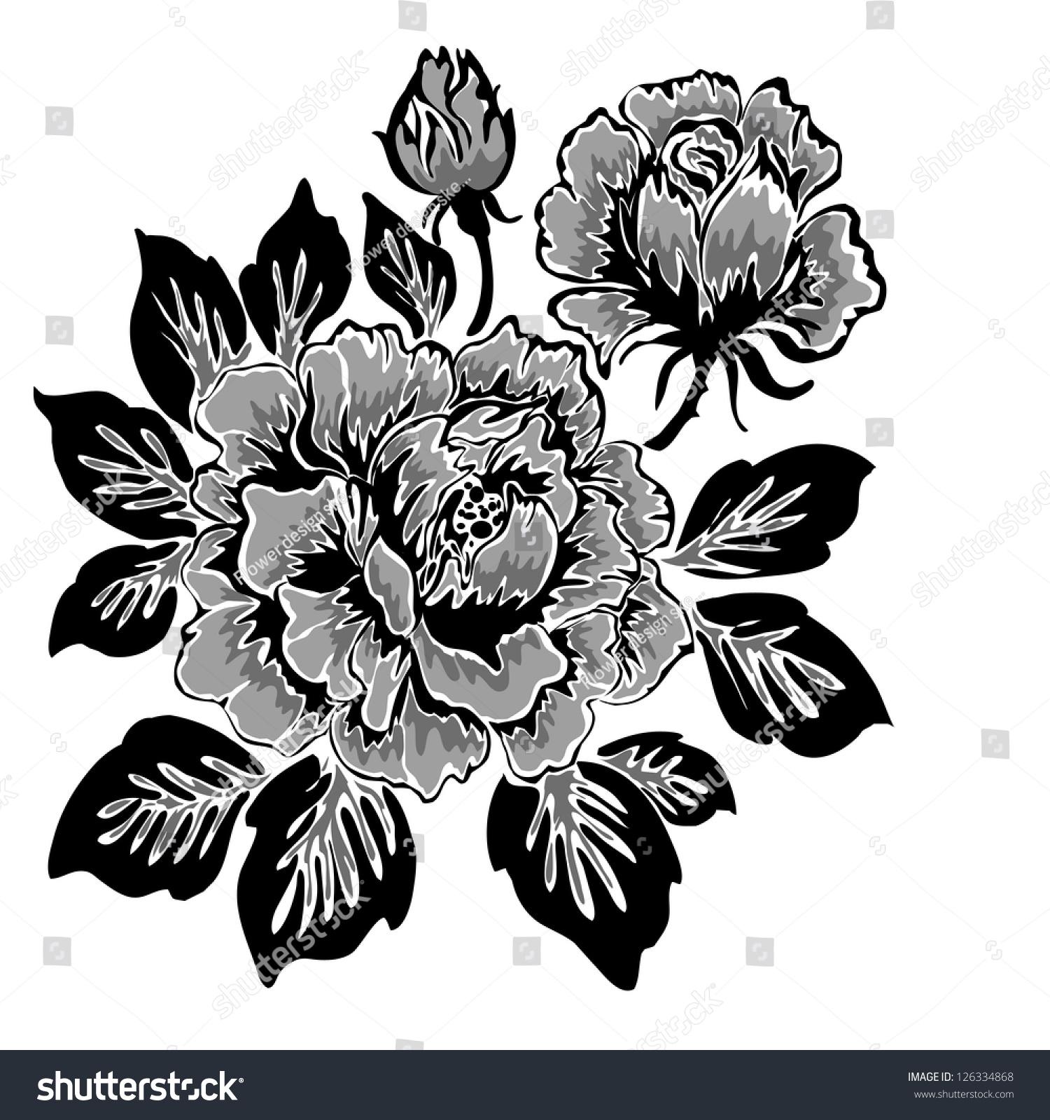 Peony flower isolated on white stock vector 368014568 shutterstock - Rose Pattern