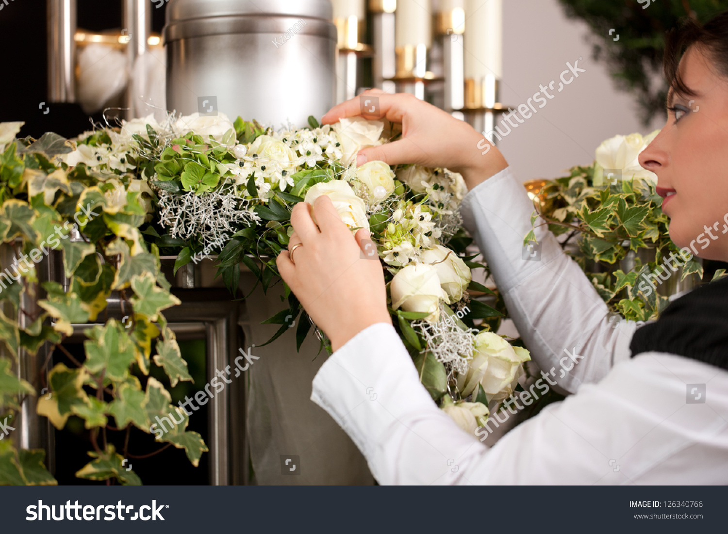 Death Dolor Mortician On Funeral Urn Stock Photo Edit Now