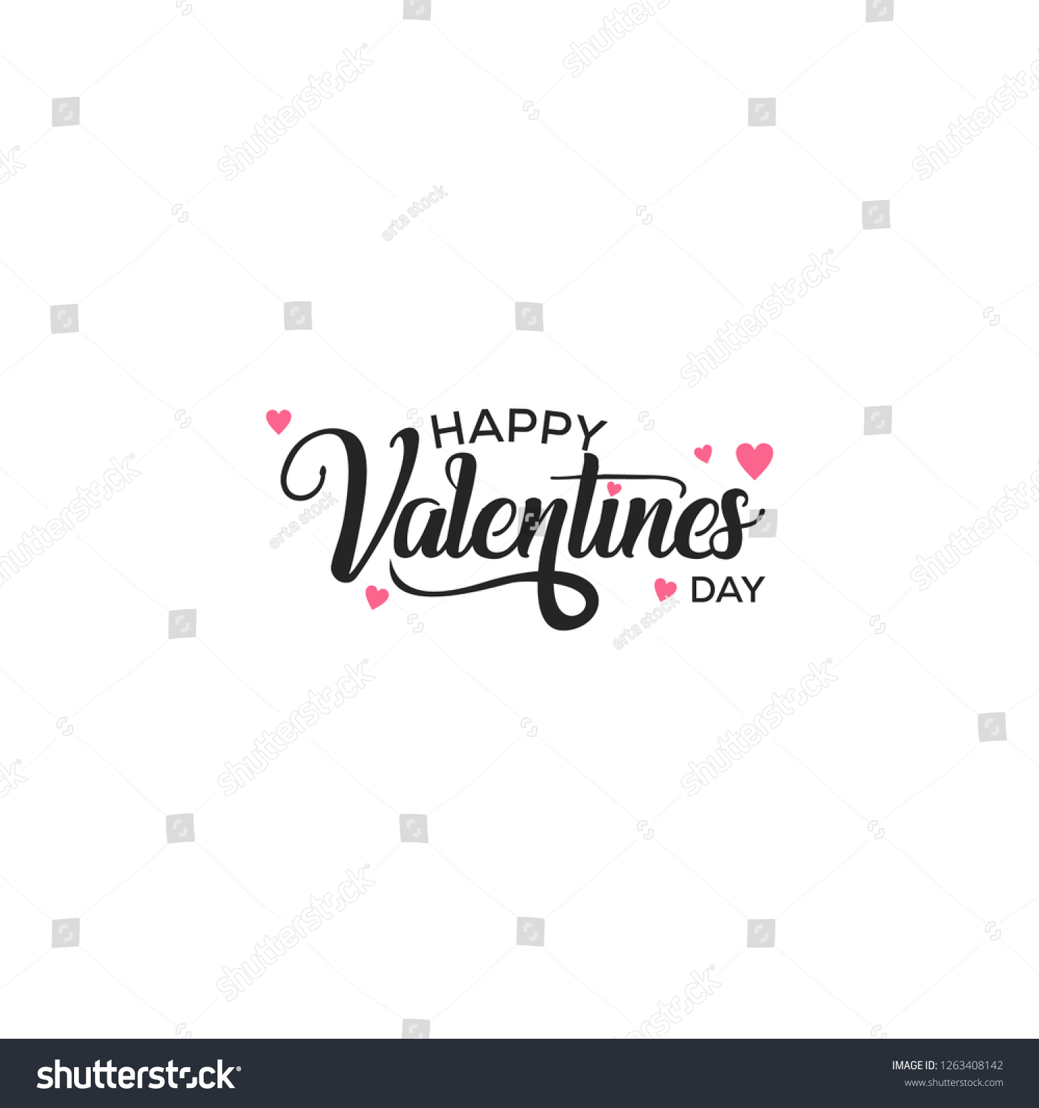 Happy Valentines Day typography poster with handwritten calligraphy text #1263408142