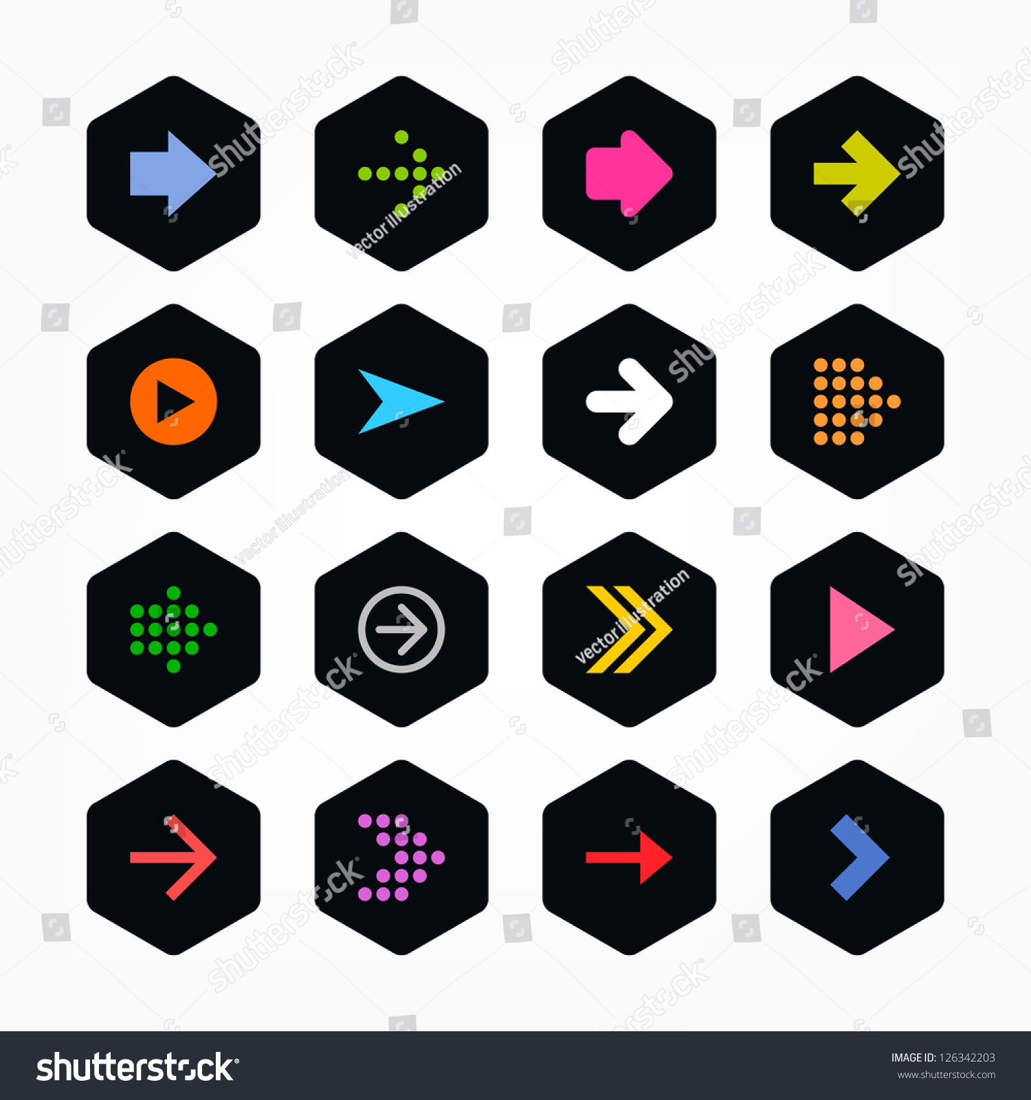 40392d3c37 Arrow icon sign set. Color on black. Simple rounded hexagon internet  button. Solid