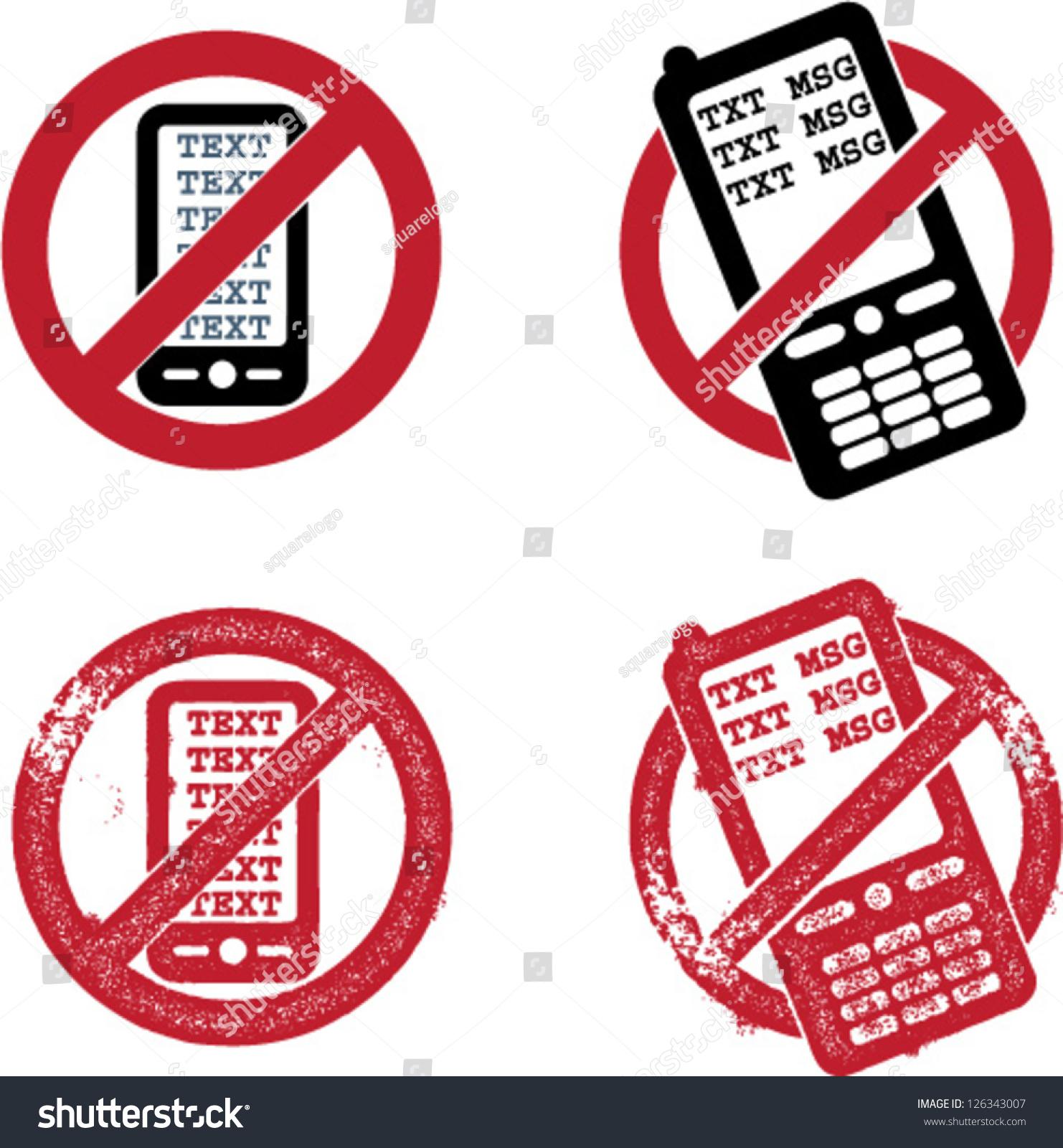 No texting signs symbols stock vector 126343007 shutterstock no texting signs symbols buycottarizona Images