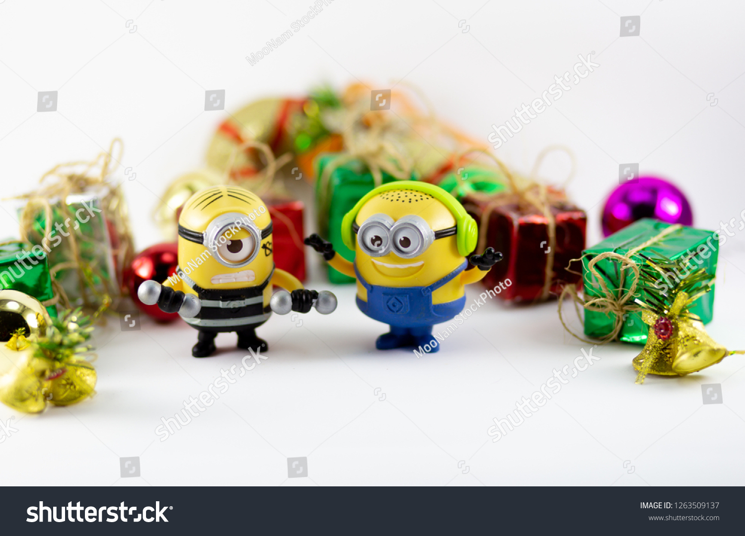 Image of: Despicable Me Bangkokthailand Dec 2018 Minions Toy And Gift Box New Year On Bangkok Thailand Dec 2018 Minions Toy Gift Stock Photo edit Now