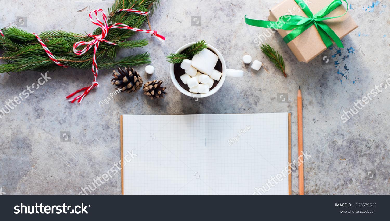 2019 Year Christmas Objects Chocolate Marshmallow Stock Photo Edit