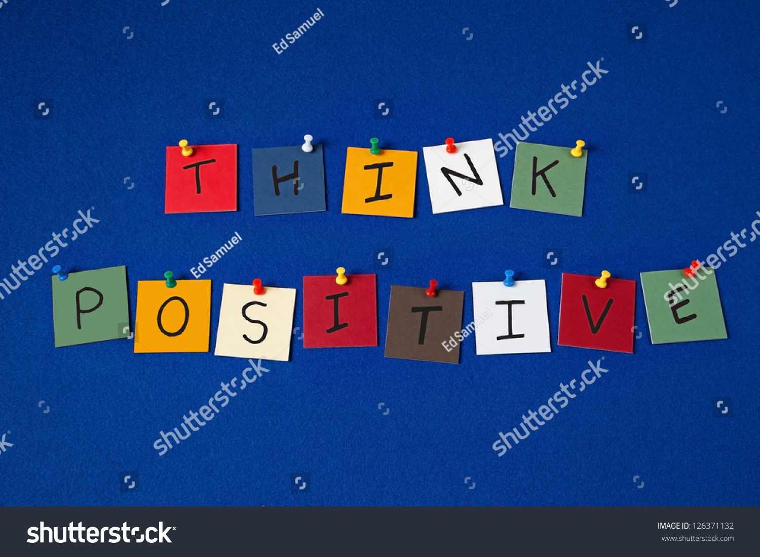 think positive sign positive thinking attitude stock photo