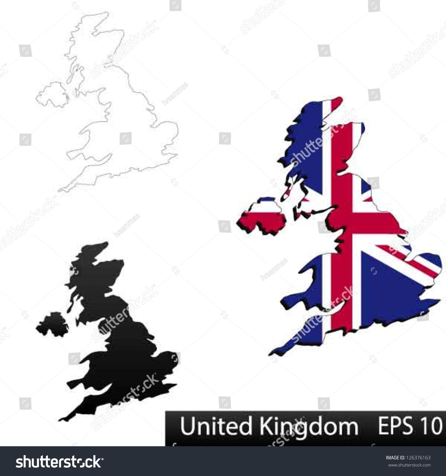 maps united kingdom england 3 dimensional stock vector 126376163