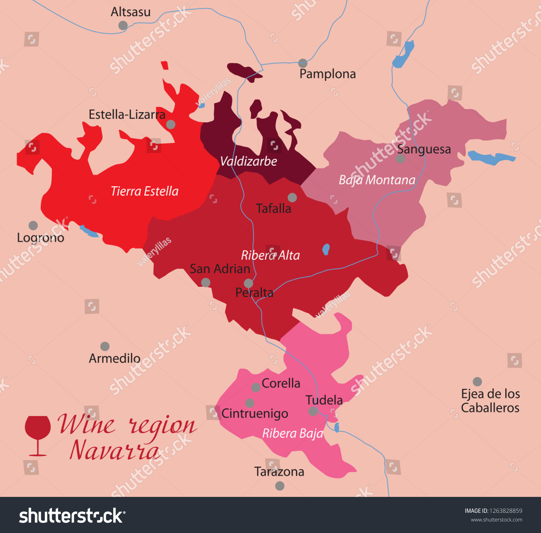 Wine Map Navarra Spain Stock Vector Royalty Free 1263828859