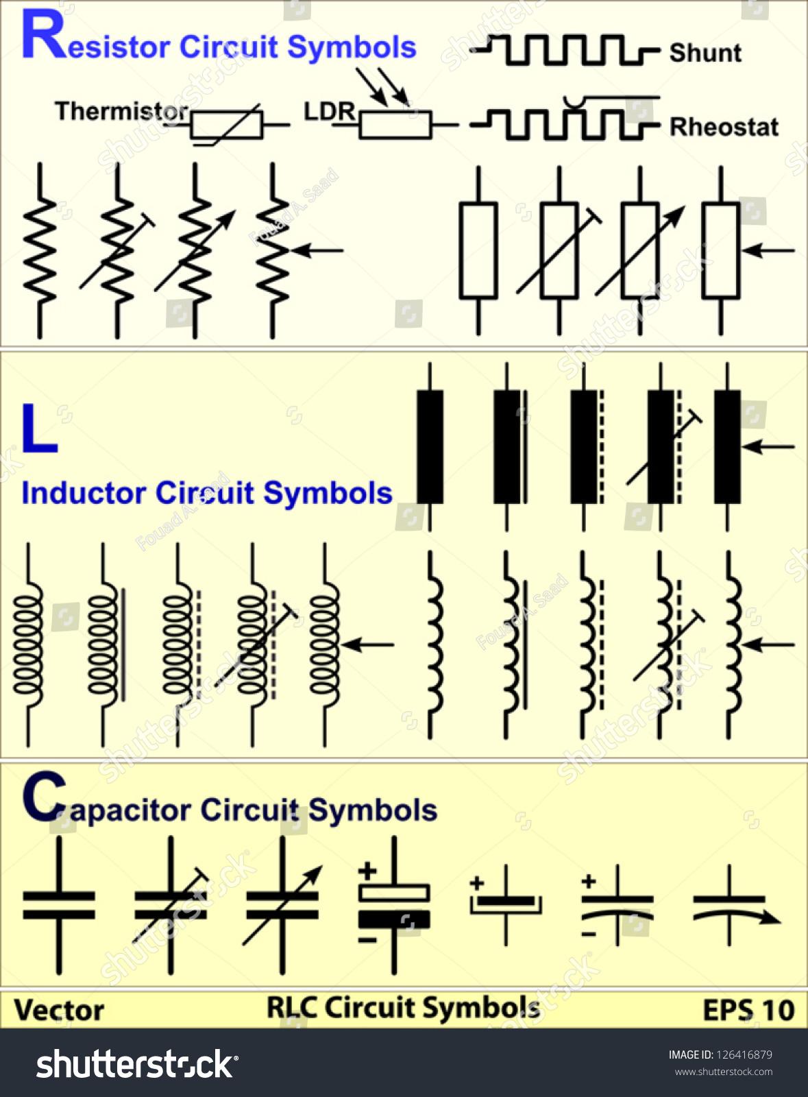 RLC Circuit Symbols Stock Vector 126416879 - Shutterstock