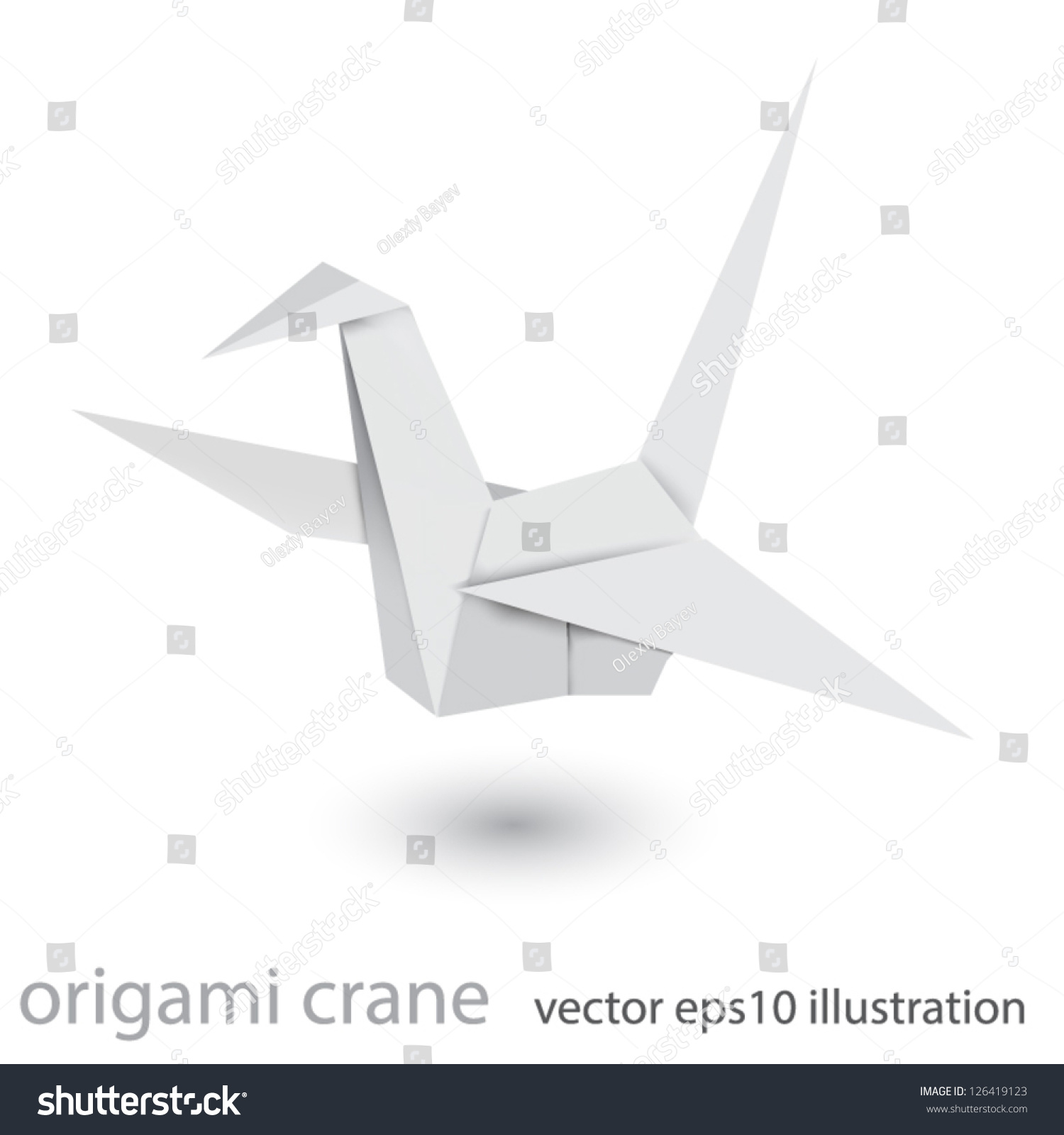 Illustration Origami Crane Isolated On White Stock Vector Royalty Pics Photos Swan Diagrams Of Background Mesh Technique